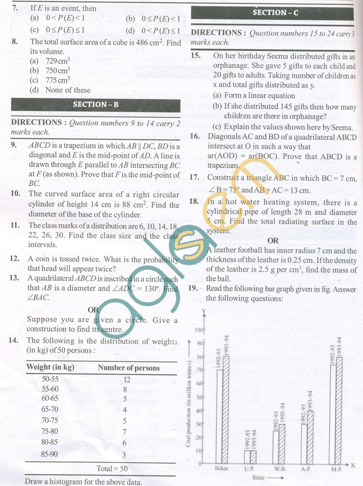 CBSE Solved Sample Papers for Class 9 Maths SA2