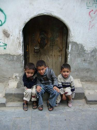 Yemen-Sanaa;地元の子供達