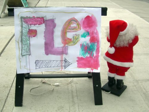 Flea Sign with Santa
