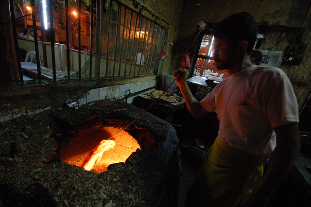 Bread-making in an Aden fish restaurant