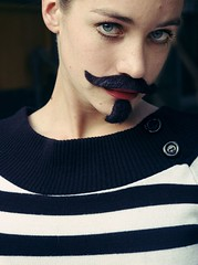 Studio Portrait Girl with moustasche