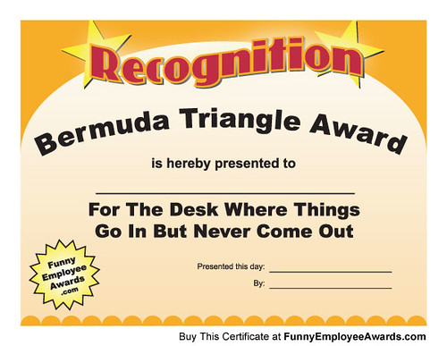 Funny Award Certificate Template Gag Awards For Employees