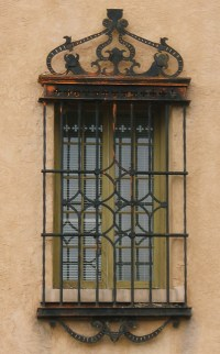 Window with decorative security bars, Santa Fe, New Mexico ...
