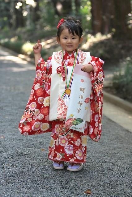 "Girl dressed for ""Seven Five Three"" ceremony, Yoyogi Park"