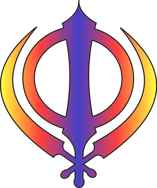 Sikh Symbol  Khanda Multicoloured Red, Blue And Yellow