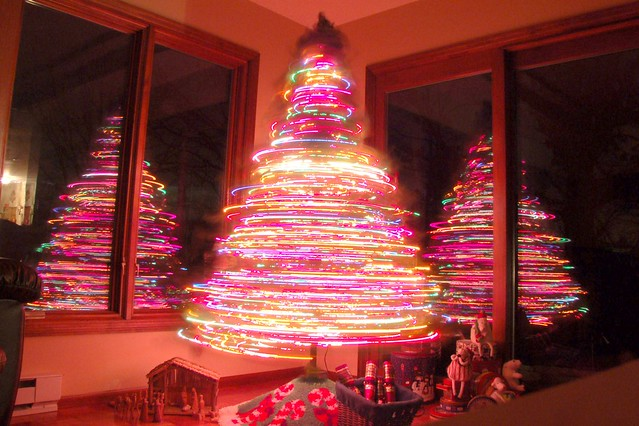 Rotating Christmas Tree 30 Second Exposure Disco Tree