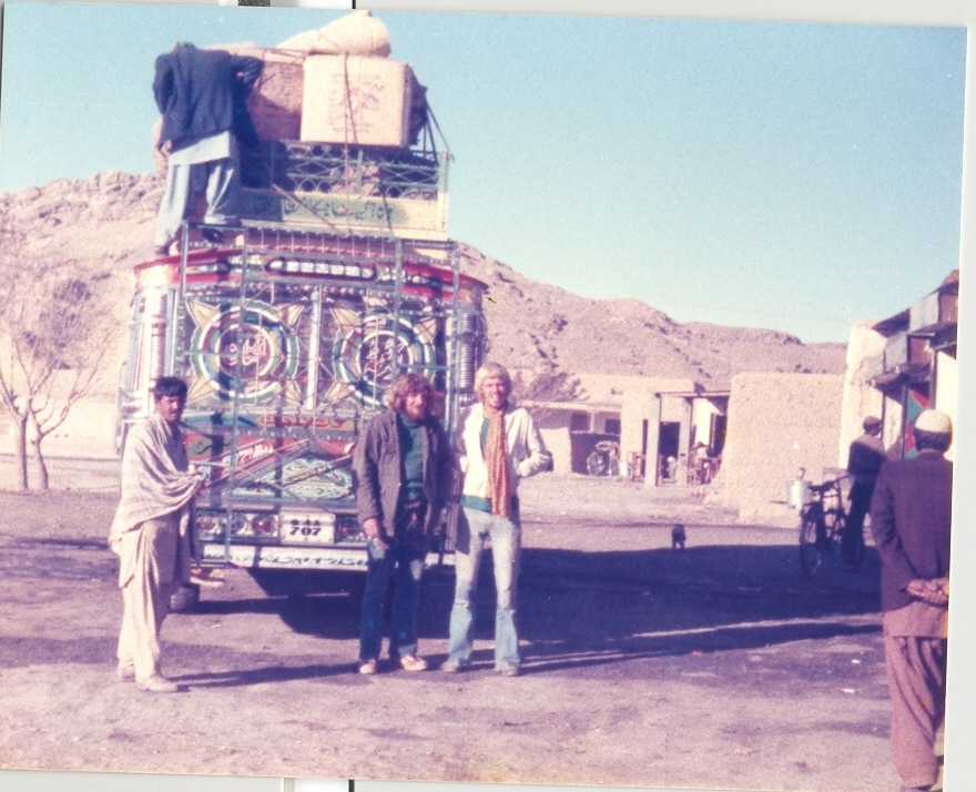 Hippies posing in front of the Hippie bus at Afghanistan