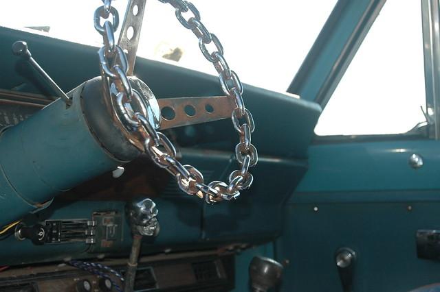 chain wheel, death's head knob