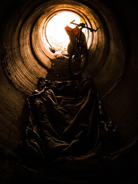 Drainage tunnel bivvy