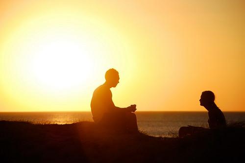 Talking silhouettes. Frankston beach, VIC
