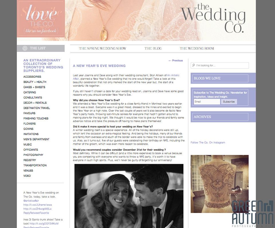 the wedding co toronto publication new years eve wedding celebration