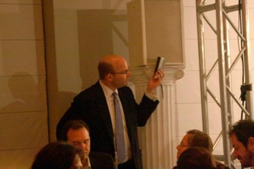 Politico's Mike Allen recording the program