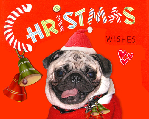 SMILING PUG VINTAGE MERRY CHRISTMAS Amp HAPPY HOLIDAYS CAR