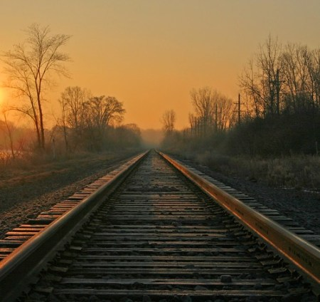Sunrise on the train tracks