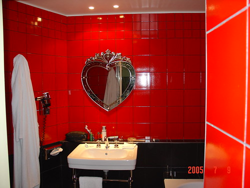 Hotel Bathroom with Heart Mirror Paris by DRheins