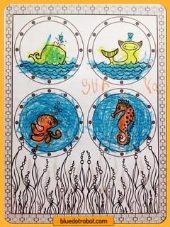 Seasational Sealife, coloring by Surya