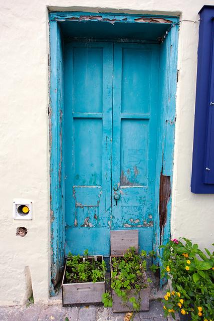 Blue door of Water Street, St George, Bermuda.