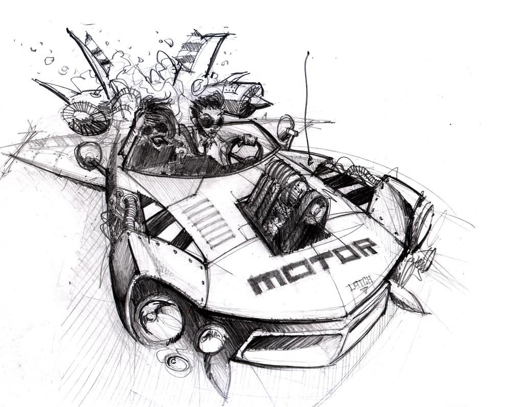 Motor Rocket Car Sketch