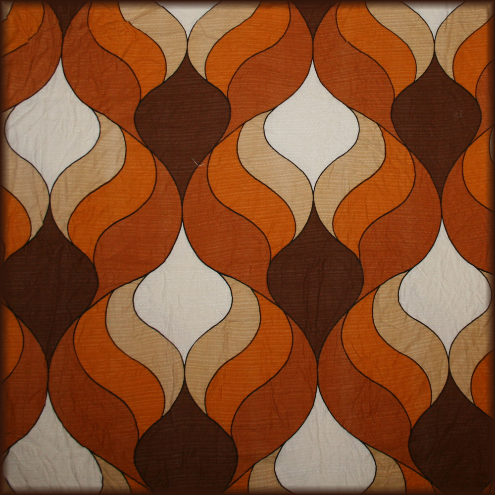 Orange and Brown Swirls Vintage Fabric  a photo on Flickriver