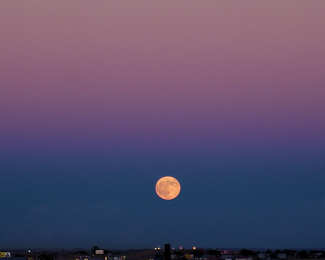 Moonrise over I40, Tucumcari, New Mexico, September 26, 2007