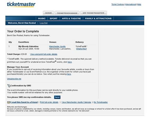 My Bloody Valentine Ticketmaster Receipt My Online