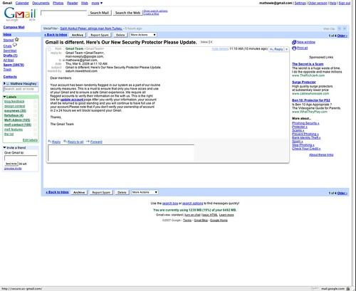 Gmail phishing attempt