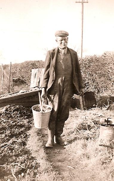 Ernest Barber in his garden