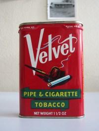 Vintage Velvet pipe & cigarette tobacco tin