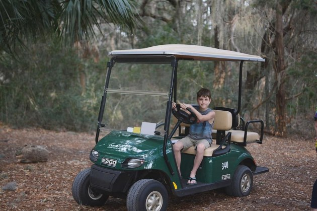 Oliver loves a good golf cart - really he loves anything with a motor and wheels that he's allowed to drive. Florida: 👏