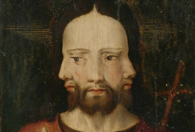 Anonymous (Netherlandish School, c 1500) - Christ with Three Faces (The Trinity)  - Detail