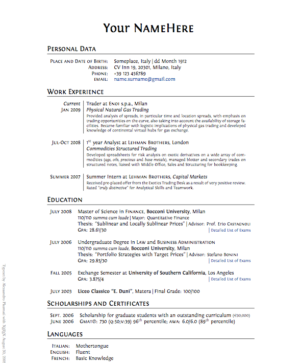 business resume template ut