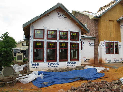 Gable end of home addition, Marvin windows