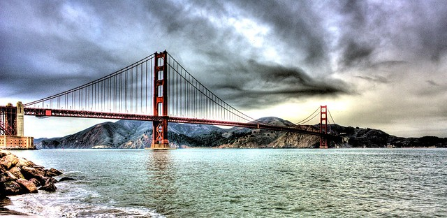 San Francisco Bridge Before the Storm