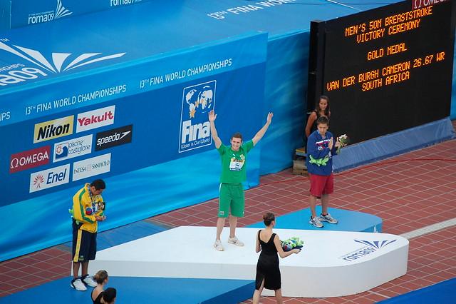 The Roma 09 men's 50 breast medal podium