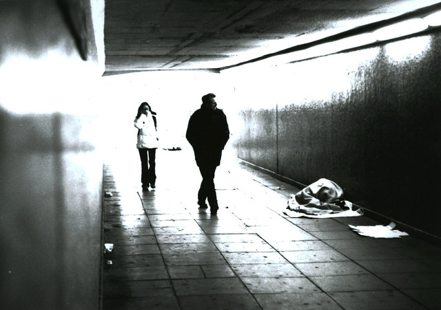 image of a homeless man in a Birmingham underpass