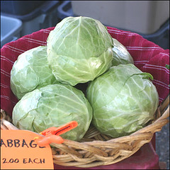 cabbage heads in basket
