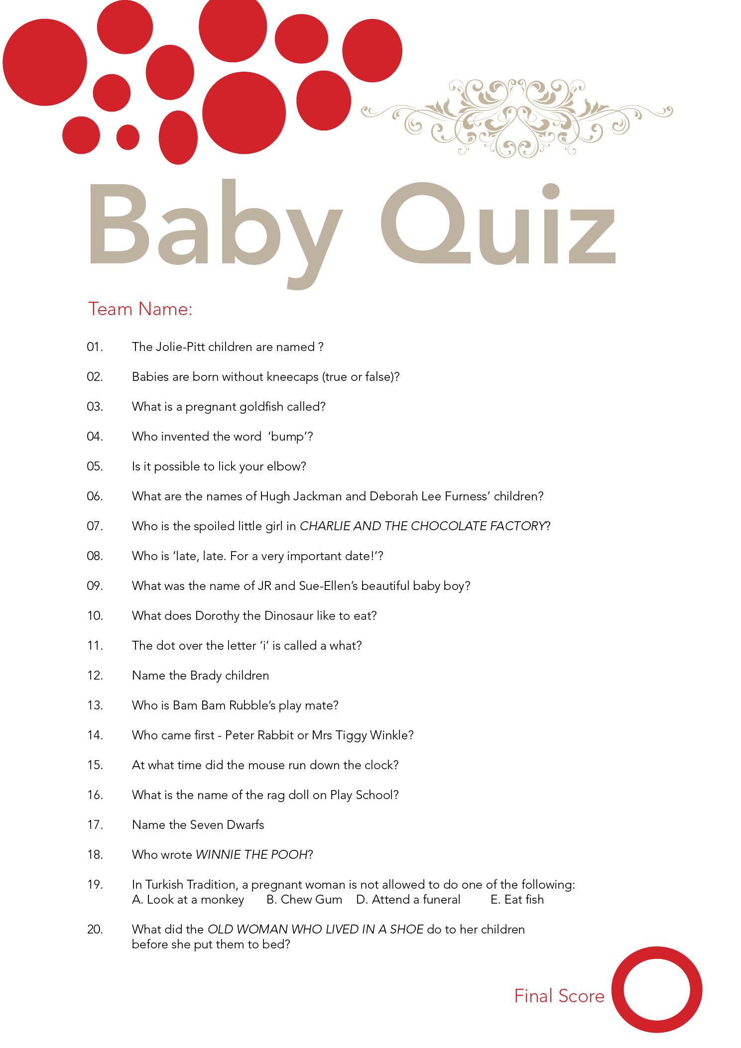Baby Shower Quiz Flickr