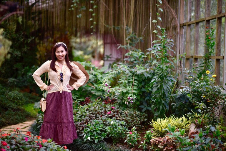 posing inside the greenhouse of the Baguio Country Club