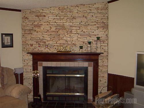 Stone Veneer Used Around Fireplace