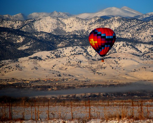 Hot air in the cold air and early  morning glow