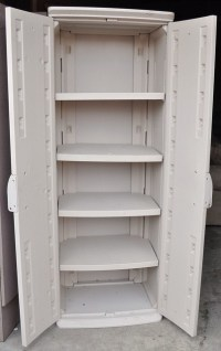 Rubbermaid storage cabinet (open)