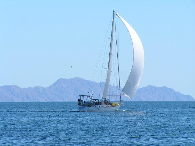 Totem sailboat sailing Baja Sea of Cortez mountains