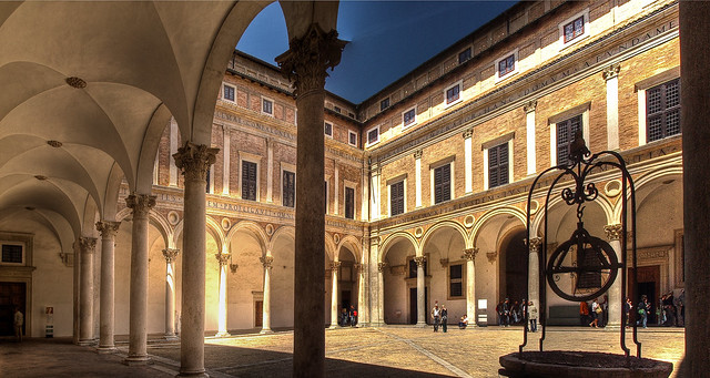 Courtyard Of The 15th Century Ducal Palace In Urbino Ital