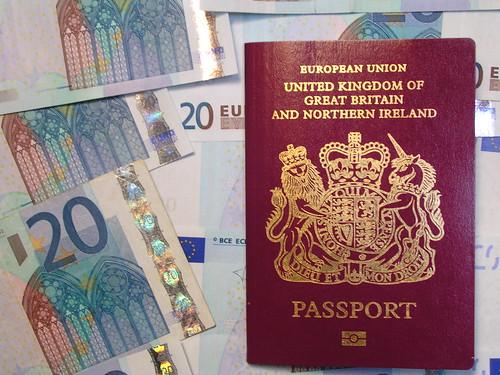 British passport, European money