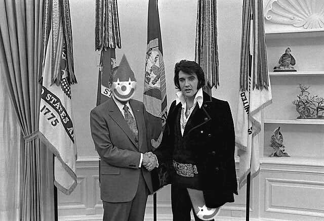 nixon and elvis - clownmask
