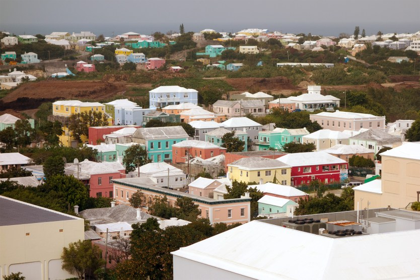 A colorful grouping of houses in Hamilton, Bermuda.