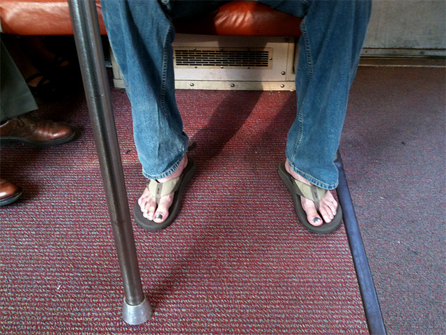 commuting with chrome toenails