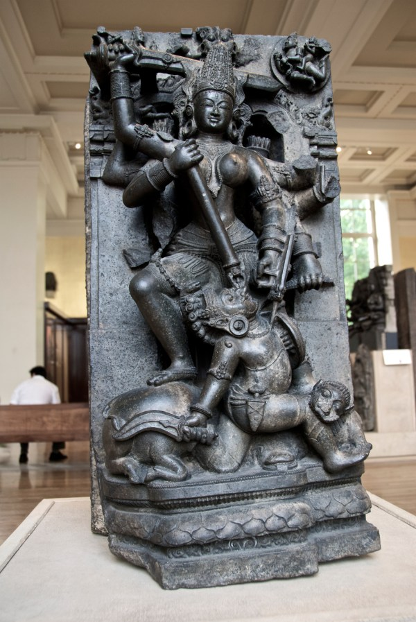 Stone Sculpture Of Durga Mahishasuramardini In British
