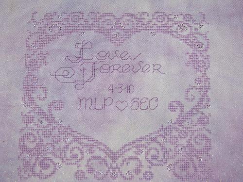 Finished Lace Heart Wedding Sampler Cross Stitch