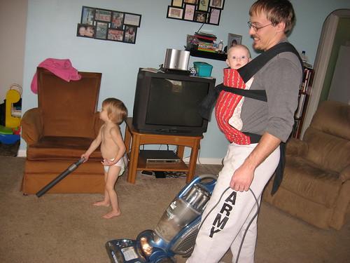 Babywearing, tidying Daddy